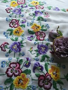 Large Vintage Hand Embroidered Irish Linen Lace Tablecloth Pansies