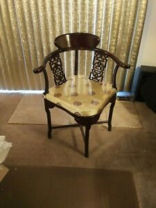 Beautiful Asian Corner Wood Arm Chair