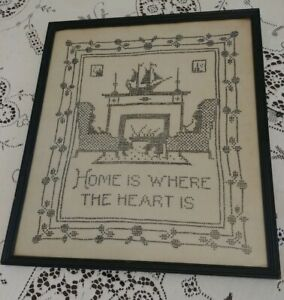 Antique 1898 Cross Stitch Needlework Framed Sampler Embroidery Family Ship Home