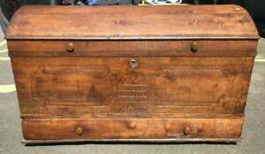 Primitive Antique Country Early 1846 Dome Top Wedding Blanket Chest Trunk