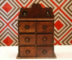 Antique American Spice Box Cabinet Wooden Primitive Chest 6 Drawers Apothecary