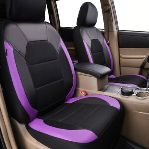 Universal 2 Front Car Seat Covers Purple Black Mesh Leather Airbag Compatible