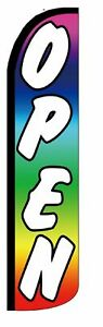 Pack Of 2 Open rainbow Windless Polyester Swooper Flag Sign Banner