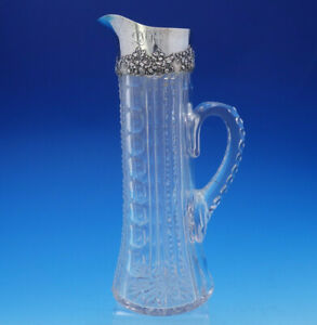 Mauser Ewer Water Pitcher Sterling Silver With Cut Glass 12 Antique 739 3592