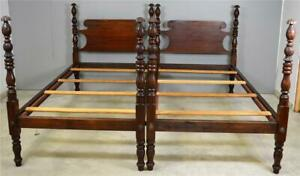 17639 Pair Of Pineapple Acanthus Carved Twin Size Beds