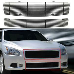 Black Horizontal Billet Grille Grill Combo Insert For Nissan Maxima 2009 2014