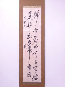 4302835 Japanese Wall Hanging Scroll Hand Painted Calligraphy