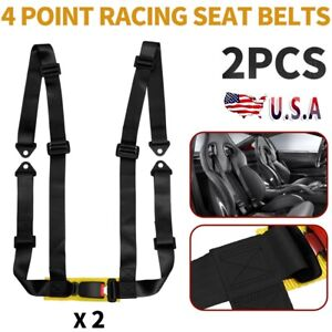 Black 1 Pair 4 Point Racing Seat Belts 4pt High Quality Vehicles Safety Harness