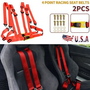 Red 1 Pair 4 Point Racing Seat Belts 4pt High Quality Vehicles Safety Harness