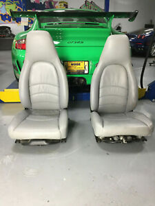 Porsche 911 993 Grey Gray Leather Front Seats Pair Electric Left