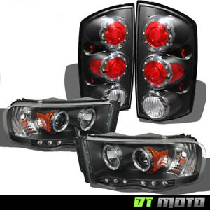 Black 2002 2005 Dodge Ram Led Halo Projector Headlights Led Tail Lamps Lights