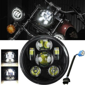 5 75 5 3 4 Inch Led Headlight Black Sealed Projector Hi lo Beam For Motorcycle