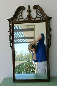 Federal Style Antique Mahogany Broken Pediment Wall Mirror Carved Leaves Vintage