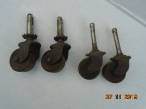 4 Metal Iron Casters 1 1 4 wheels 2 Swivel For Dolly Furniture etc Vintage