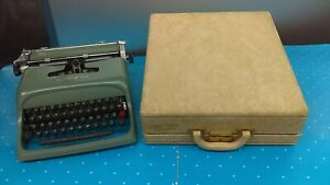 Vintage Underwood Olivetti Studio 44 Blue Typewriter With Case Cover Manual Tool