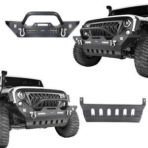 Front Bumper Skid Plate W Winch Plate Led Light For Jeep Wrangler Jk 07 18