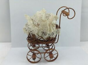 Miniature Wicker Stroller Doll Display Baby Carriage Antique With Baby