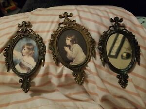 3 Vintage Ornate Metal Oval Picture Frame Mirror Girl Praying Made In Italy