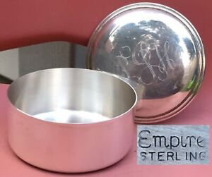 Vintage Sterling Silver Round Lidded Jewelry Trinket Box By Empire