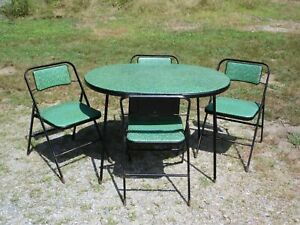 Vintage Samsonite Mid Century Modern Dining Card Table Folding Chairs Set