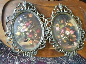 2 Vintage Italian Flower Pictures Ornate Metal Picture Frames Convex Glass