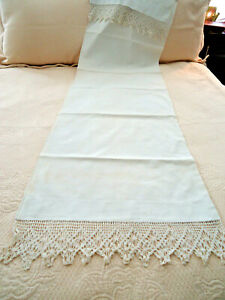1930s Antique Linen Bolster Cover With Gorgeous Hand Made Lace Trim On Both Ends