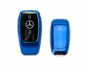 Blue Tpu Key Fob Cover W Button Cover For Mercedes E S G A C Cla Cls Glb Class