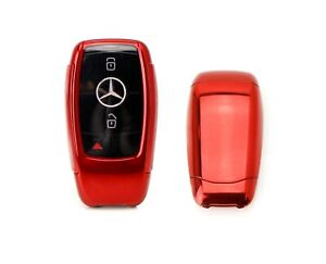 Red Tpu Key Fob Cover W Button Cover For Mercedes E S G Class Gen3 Smart Key