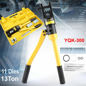 13 Ton Hydraulic Lug Crimper Tool Electrical Terminal Cable Wire With 11 Dies Us