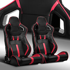 2 X Reclinable Black red Strip Pvc Leather Left right Racing Bucket Seats