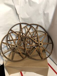 Vintage Set Of 4 Wooden Wheels Stroller Buggy Baby Carriage Wagon