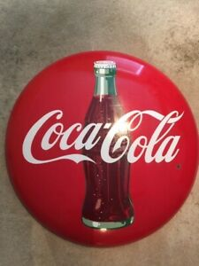 Vintage old antique coca cola coke button round sign 36 inch red rare porcelain