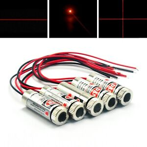 5pc 650nm 5mw Red Dot Line Cross Focusable Laser Diode Module 5v Driver Dia 12mm