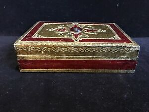 Vtg Italian Florentine Style Wood Felt Lined Box With Red Glass Bead Red