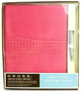 Cross Autocross Collection Pink Pebbled Leather Padfolio Chrome Ballpoint Pen