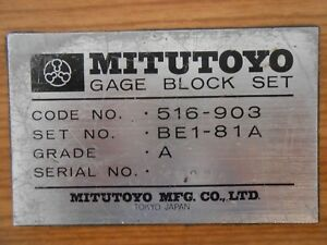 Complete 81 Pc mitutoyo 516 903 Be1 81a Gage Block Set Grade A In Wood Box