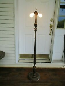 Vintage Art Deco Floor Lamp Wood Turned Spindle Post Dual Bulb Walnut