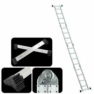 15 5ft 16 step Platform Multi Purpose Aluminum Folding Scaffold Ladder 330lbs