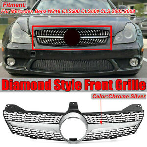 Diamond Front Grille Grill Chrome For Mercedes Benz W219 Cls500 Cls600 2005 2008
