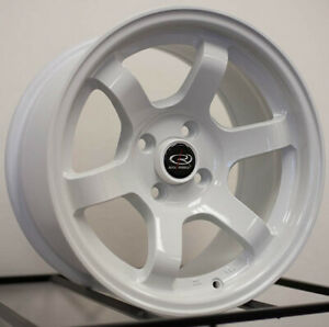 15x7 8 Rota Grid Concave 4x100 20 White Rims New Set