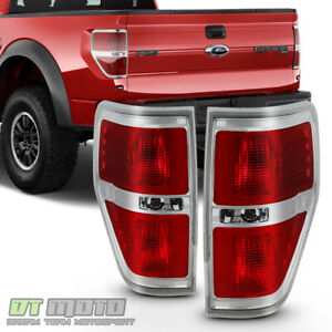 2009 2014 Ford F150 F 150 Pickup Truck Chrome Trim Tail Lights Brake Lamps Pair