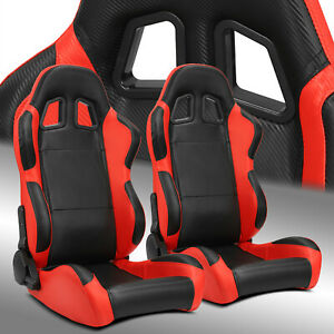 2 X Reclinable Black red Carbon Fiber Pvc Leather Left right Racing Bucket Seats