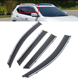 Smoke Tint W Chrome Trim Window Visors Shade Rain Guards Fit 14 18 Nissan Rogue