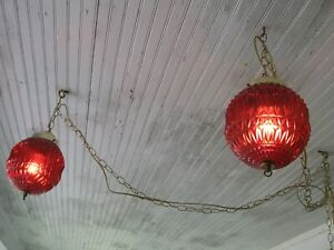 Two Matching Swag Lamps Red Ceiling Lights W Chains Wall Cords Vintage