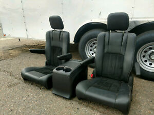 New Takeouts Black Leather Bucket Seats Console Hotrod Jeep Truck Van Humvee