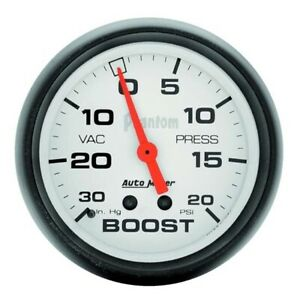 Autometer 5801 Phantom Mechanical Boost Vacuum Gauge 2 5 8 Inch