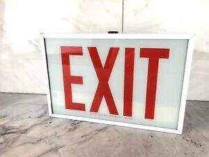 Western Electric Lighting Inc Fluorescent Exit Sign Glass One Sided 12 X8 1 8