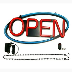 Business Led Open Sign 22 5 X 11 New Ultra Bright Oval Neon Remote Control