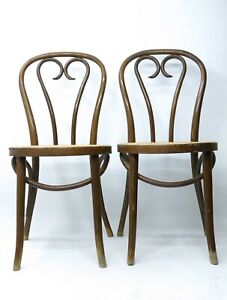 Mid Century Vtg Pair Thonet Romania Cafe Chair Bentwood Canes Parlor Heart