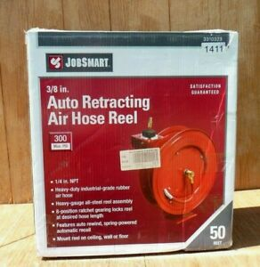 Jobsmart Retractable Air Hose Reel W 3 8 X 50 Rubber Air Hose Tractor Supply